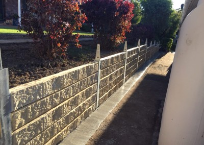 Sandstone Effect Concrete Sleepers and Galvanised Steel Posts with Fence Brackets