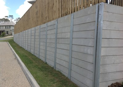 Smooth Grey Concrete Sleepers and Galvanised Steel Posts Springfield 2